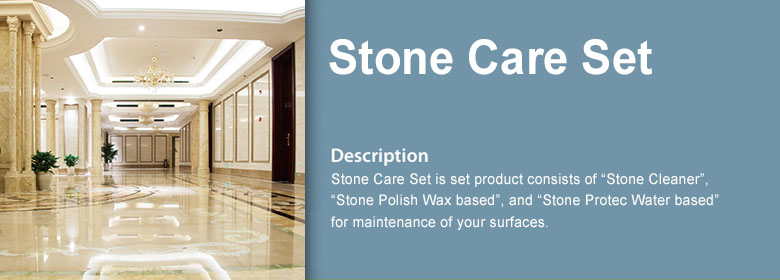 "Stone Care Set is set product consists of ""Stone Cleaner"", ""Stone Polish Wax based"", and ""Stone Protec Water based"" for maintenance of your surfaces."