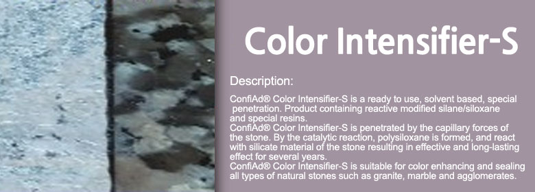 ConfiAd® Color Intensifier-S is a ready to use, solvent based, special penetration. Product containing reactive modified silane/siloxane and special resins. ConfiAd® Color Intensifier-S is penetrated by the capillary forces of the stone. By the catalytic reaction, polysiloxane is formed, and react with silicate material of the stone resulting in effective and long-lasting effect for several years. ConfiAd® Color Intensifier-S is suitable for color enhancing and sealing all types of natural stones such as granite, marble and agglomerates.