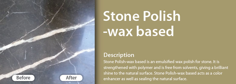 Stone Polish-wax based is an emulsified wax polish for stone. It is strengthened with polymer and is free from solvents, giving a brilliant shine to the natural surface. Stone Polish-wax based acts as a color enhancer as well as sealing the natural surface.